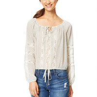 Lace Inset Peasant Top - Ivory Multi