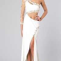 Sexy One Shoulder Beaded Gown by Alyce Paris 2288