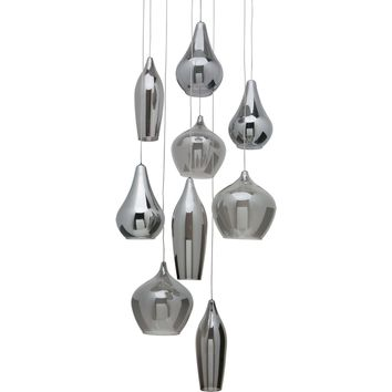 Emma Pendant Lamp Smoked Grey Frosted White Interior Glass