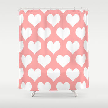 Coral Pink Hearts of Love Shower Curtain by BeautifulHomes | Society6