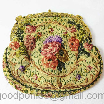Antique tapestry petit point bag...Made in France...Roses