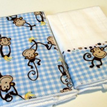 Baby Burp Cloths Blue Gingham Monkey Flannel with Browns Blue Dot Trim
