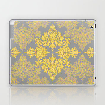 Golden Folk - doodle pattern in yellow & grey Laptop & iPad Skin by micklyn | Society6