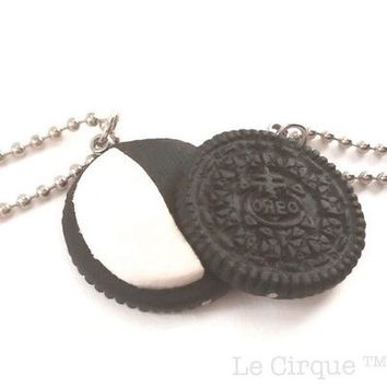 Oreo Best Friend Necklaces, half cream, oreo cookie, cute, handmade, set