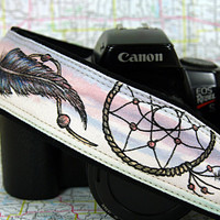 Dream Catcher Hand Painted OOAK Camera Strap, 14-7, Pink, Blue, Feathers, Dreamcatcher, Fashion Camera Strap, One of a Kind, dSLR or SLR