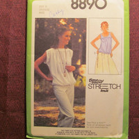 SALE Uncut 1970's Simplicity Sewing Pattern, 8890! 6-8-10 Small/Medium/Women's/Misses/Stretch Knit Tops/Pullover Tops/Yoke Blouse/Loose Fitt