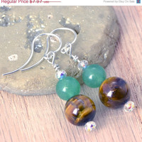 Back To School Sale Moss and Chocolate Earrings - Wedding Earrings - Bridesmaid Earrings - Bridesmaid Gift - Tigers Eye - Jade - Brown - Gre