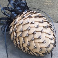 Pierced Ribbon Pinecone Ornament - Tan w/Black Check Tips - Free Shipping
