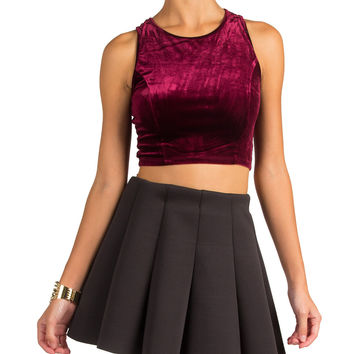 VELVET CROPPED ZIPPER TANK - BURGUNDY