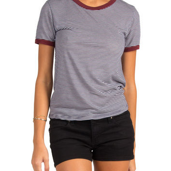 THIN STRIPED CONTRAST TRIM TEE - NAVY