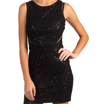 SEQUIN MESH CUTOUT PARTY DRESS