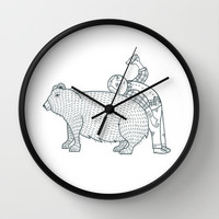 The Known Practice of using Domesticated Bears as cushions while drinking.  Wall Clock by Michael C. Hsiung