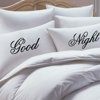 Pillowcase Set, His and Her Pillowcase set, Good Night Pillowcase Set, pillow case set