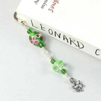 Beaded Bookmark Flower Silver Green Pink Lampwork Glass