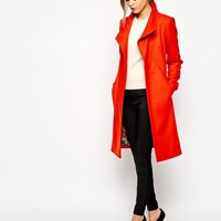 Ted Baker | Ted Baker Belted Wrap Coat in Tangerine at ASOS