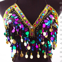 Rainbow Sequin Gypsy Halter Top
