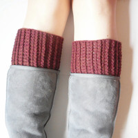 Chunky Crochet Boot Cuffs in Chestnut, Wool Blend, ready to ship.