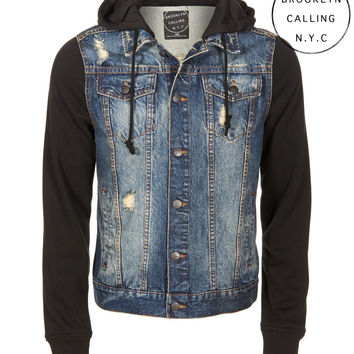 Brooklyn Calling Destroyed Denim Hoodie Jacket