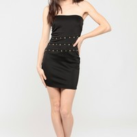 Studded Strapless Body Con Dress @ Cicihot sexy dresses,sexy dress,prom dress,summer dress,spring dress,prom gowns,teens dresses,sexy party wear,women's cocktail dresses,ball dresses