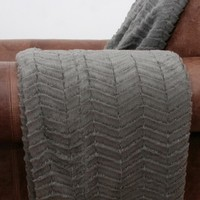 Aiden Sculpted Chevron Throw - Pewter
