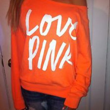 Pink by Victoria's secret Neon Orange CREW SWEATSHIRT OFF SHOULDER LOW CUT XS