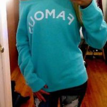 Victoria's secret mint green crew slouchy baggy sweatshirt NWT famous graphic L
