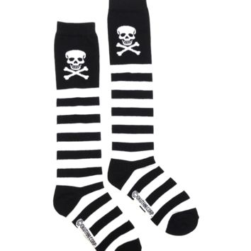 Classic knee socks are knit in a super soft, featuring black/white stripes print throughout and finish with skull and crossbones print, lightweight yarn with great durability and color retention.