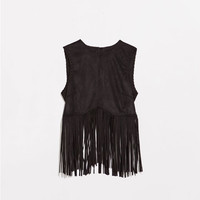 Fringed faux suede top