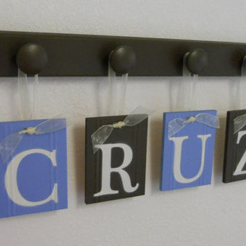 Customizable Baby Name Wall Letters, 4 Plates Personalized for CRUZ Painted in Light Blue and Chocolate Brown Set Includes 4 Wood Peg Holder