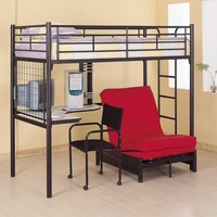 Coaster Fine Furniture 2209 Metal Bunk Bed with Futon/Desk/Chair and CD Rack, Black Finish:Amazon:Home & Kitchen