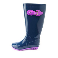 COLOR BLOCK RUBBER RAIN BOOTS