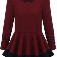 Sheinside Long Sleeve Slim Ruffle Mini Dress T-Shirt