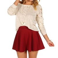 Taupe Crochet Sleeves Top