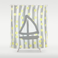 Sailboat, Dots and Stripes (Gray) Shower Curtain by Lisa Argyropoulos | Society6