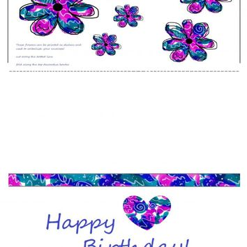 Happy Birthday Greeting Card Digital Download on Handmade Artists' Shop