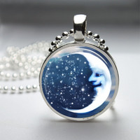 Round Glass Bezel Pendant Moon Pendant Moon Necklace With Silver Ball Chain (A3289)