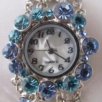 Unique Blue Crystal Bracelet Wrist Watch. Orlogin's Style. 30% Off   59 Dolars Only. FREE SHIPPING