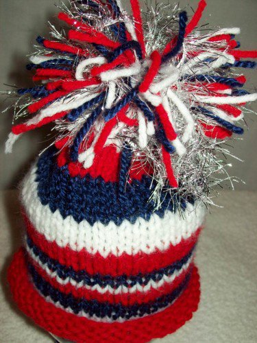 Baby Beanie Hat Red White Blue Sparkler Roll Brim HandKnit Red White Blue Toddler Unisex | knitsandmorebywlsm12 - Children's on ArtFire