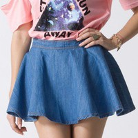 Denim Skater Skirt  - Retro, Indie and Unique Fashion