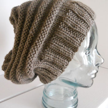 SUMMER SALE. Knitted hat, Taupe brown, knit hat, hand knit slouchy hat, rib knit light brown hat, beehive knit hat