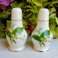 Beautiful Hammersley Porcelain Salt & Pepper Shakers ~ Lily of the Valley