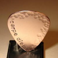 Carpe Diem hammered copper guitar pick