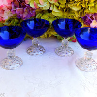 4 Beautiful Vintage Fostoria American Lady Champagne Glasses ~ Cobalt ~ Clear