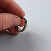Oxidized Heavy Gauge Half Round Sterling Silver Ring Handmade Jewelry