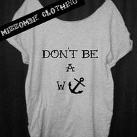 WANKER ANCHOR   Tshirt, Off The Shoulder, Over sized, street style,loose fitting, graphic tee, grunge, goth, punk mizzombie