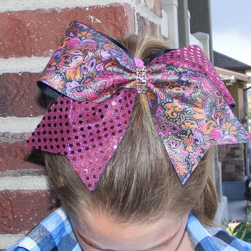 Cheer bow - Burgundy sequins with flower print and a gold rhinestone center - Cheerleader bow - Dance bow - Cheerleading bow