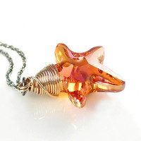 Sun Kissed Starfish Necklace 14K Gold Fill Sterling Silver Swarovski Orange Blush Crystal Starfish Necklace