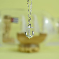 Petite Anchor Necklace, Rhodium Plated Brass Pendant, Delicate Chain, Everyday Wear, Perfect Gift