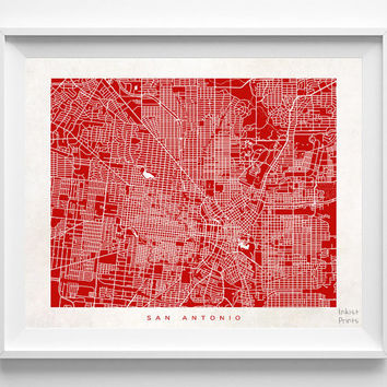 San Antonio, Texas, Wall Decor, Town, Illustration, Map, State, Print, Beautiful, Nursery, Poster, Room, Art, World, Street [NO 529]