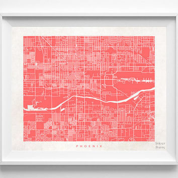 Phoenix, Arizona, Wall Decor, Town, Illustration, Map, State, Print, Nursery, Poster, Pretty, Room, Art, World, Street [NO 521]